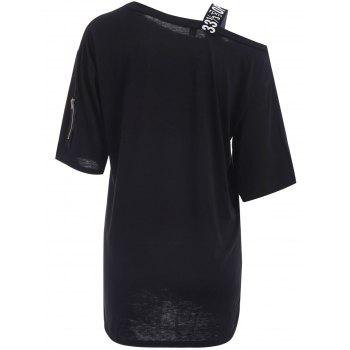 One Shoulder Letter Pattern Cut Out Short Sleeve Dress For Women - BLACK ONE SIZE(FIT SIZE XS TO M)