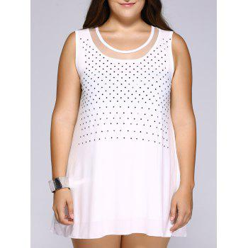 Stylish Plus Size Rhinestoned Mesh Patchwork Women's Tank Top