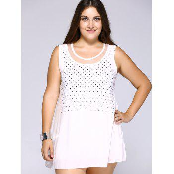 Stylish Plus Size Rhinestoned Mesh Patchwork Women's Tank Top - WHITE WHITE