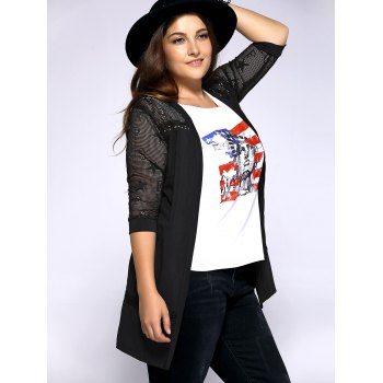 Trendy Plus Size Hollow Out Star Pattern Women's Cardigan - XL XL