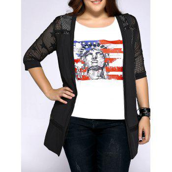 Trendy Plus Size Hollow Out Star Pattern Women's Cardigan