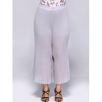 Trendy Plus Size Pleated Wide Leg Women's Pants