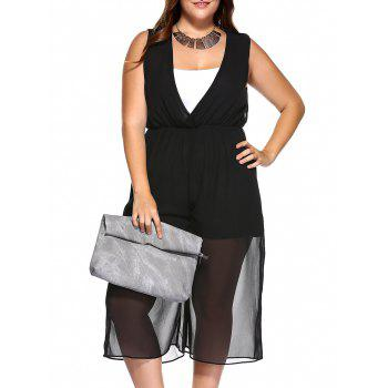 Plus Size V Neck Wide Leg Jumpsuit and Camisole
