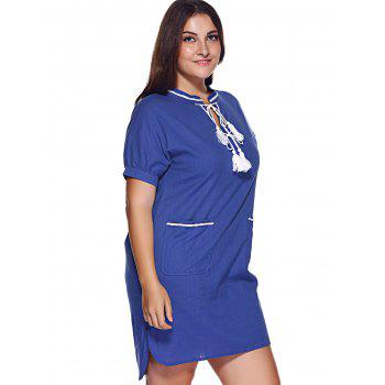 Brief Plus Size Pocket Design Tie Front Women's Dress - XL XL