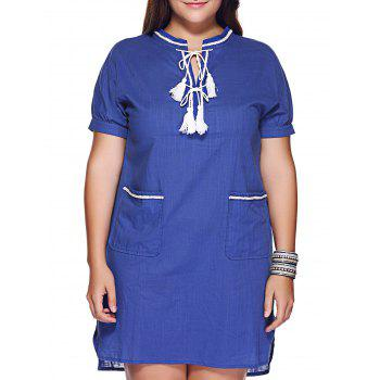 Brief Plus Size Pocket Design Tie Front Women's Dress - BLUE XL