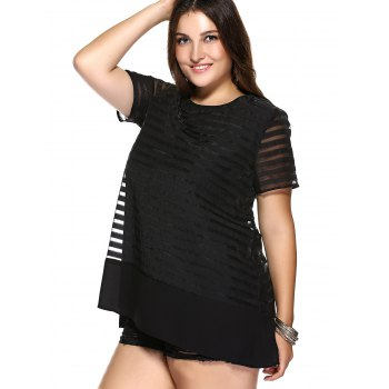 Sweet Style Plus Size Pure Color Striped Women's Organza Dress - XL XL