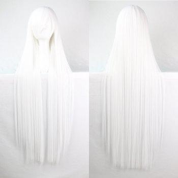 Long Glossy Straight Side Bang Harajuku Anime Synthetic Cosplay Wig - WHITE WHITE