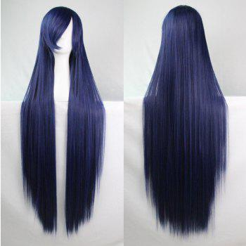 Long Glossy Straight Side Bang Harajuku Anime Synthetic Cosplay Wig - PURPLISH BLUE PURPLISH BLUE