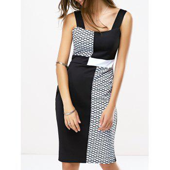 Office Breath Contrast Color Printed Dress