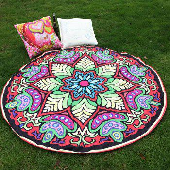 Ethnic Style Bikini Boho Swimwear Eight-Square Flower Grass Mat and Satin Round Beach Throw Scarf