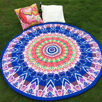 Ethnic Style Bikini Boho Swimwear Geometry Totem Blue Soft Grass Mat Satin Round Beach Throw Scarf