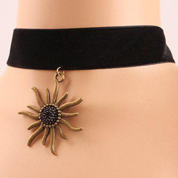 Velvet Sunflower Choker Necklace
