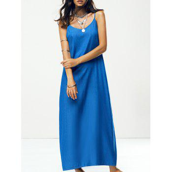 Spaghetti Strap Solid Color Backless Maxi Dress
