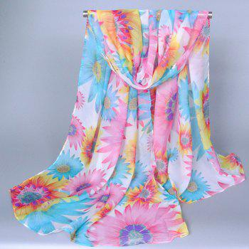 Chic Flourishing Sunflower Pattern Comfortable Women's Chiffon Shawl Wrap Scarf