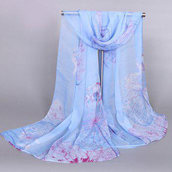 Buy Chic Flourishing Lotus Pattern Comfortable Women's Chiffon Shawl Wrap Scarf BLUE