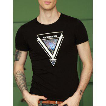 Inverted Triangle Print Round Neck Short Sleeve T-Shirt For Men