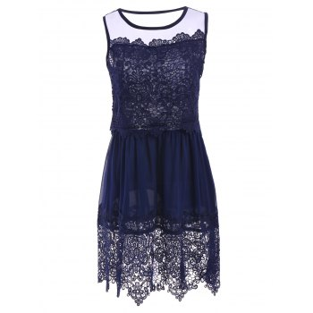 Sleeveless Jewel Neck Crochet Lace Dress For Women