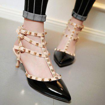 Chic Buckles and Metal Rivets Design Women's Pumps