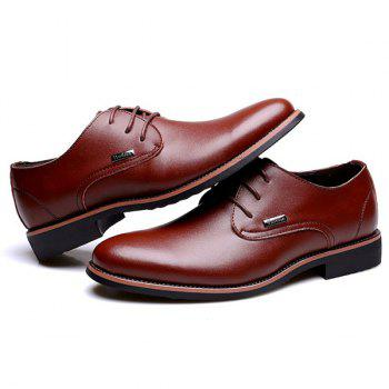 Fashion Pointed Toe and Lace-Up Design Men's Formal Shoes - Brun 43