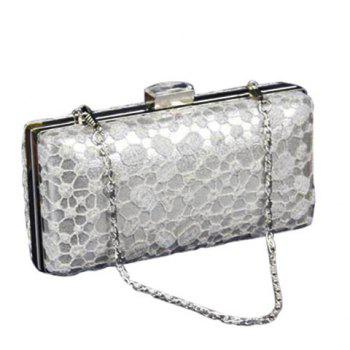 Graceful Lace and Chain Design Women's Evening Bag - SILVER SILVER