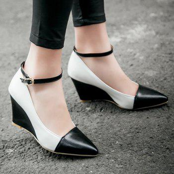 Stylish Color Block and Pointed Toe Design Women's Wedge Shoes - 38 38