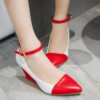 Stylish Color Block and Pointed Toe Design Women's Wedge Shoes - RED 37