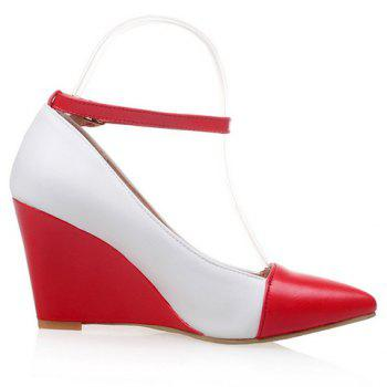 Stylish Color Block and Pointed Toe Design Women's Wedge Shoes - RED RED