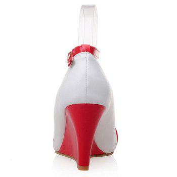 Stylish Color Block and Pointed Toe Design Women's Wedge Shoes - 37 37