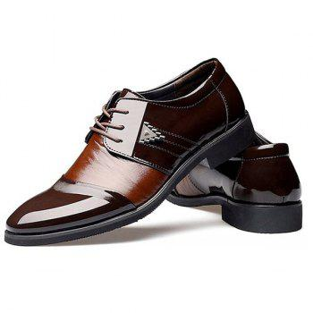 Trendy Patent Leather and Lace-Up Design Men's Formal Shoes - 43 43