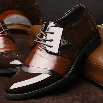 Trendy Patent Leather and Lace-Up Design Men's Formal Shoes - 42 42
