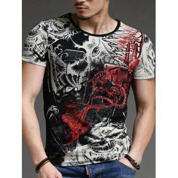 Men's Round Neck Abstract Printing Short Sleeves T-Shirt