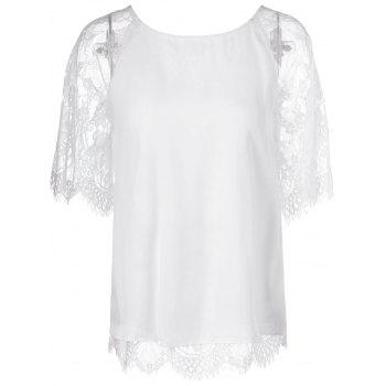 Elegant Women's Round Neck Short Sleeves Splice Lace T-Shirt