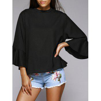 Trendy Solid Color Flare Sleeve Loose Fitting Blouse - BLACK BLACK