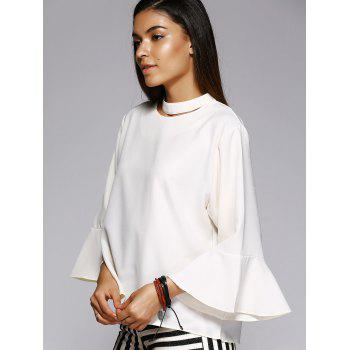 Trendy Solid Color Flare Sleeve Loose Fitting Blouse - XL XL