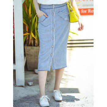 Stylish High Waisted Single-Breasted Denim Women's Skirt
