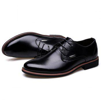 Fashion Pointed Toe and Lace-Up Design Men's Formal Shoes - BLACK 42