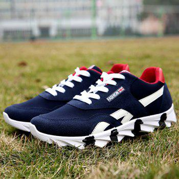 Trendy Color Block and Lace-Up Design Men's Athletic Shoes - NAVY BLUE 43