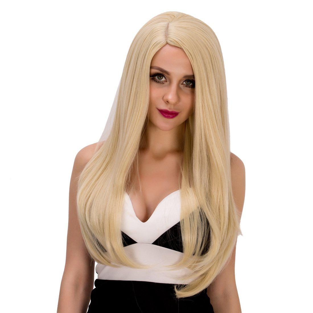 Graceful Side Parting Women's Long Tail Adduction Platinum Synthetic Hair Wig - PLATINUM