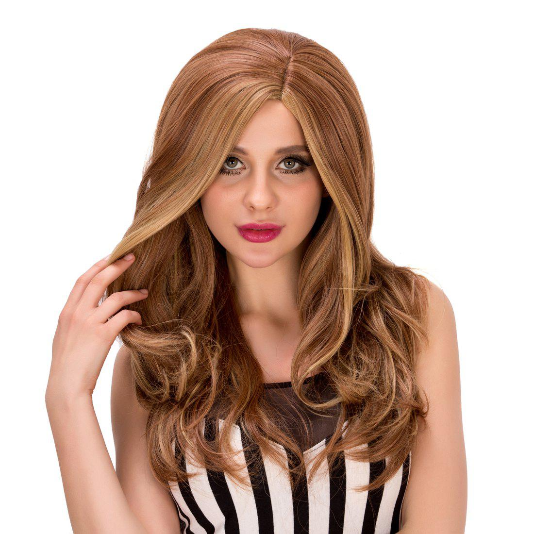 Stylish Long Brown Mixed Capless Fluffy Wave Side Parting Synthetic Wig For Women цена 2016