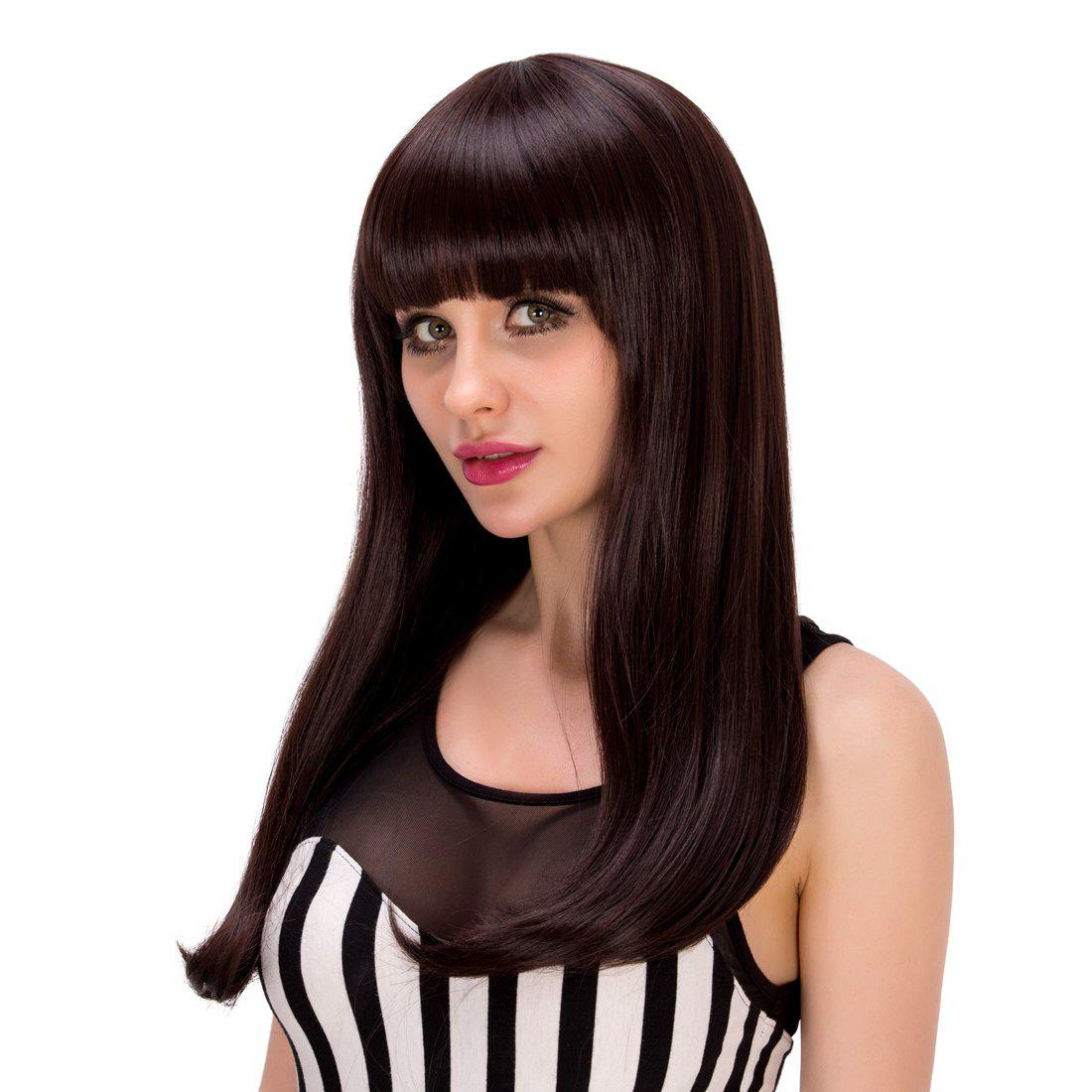 Gorgeous Straight Tail Adduction Dark Brown Full Bang Long Synthetic Wig For Women