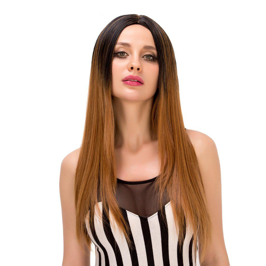 Vogue Long Centre Parting Straight Synthetic Black Browm Gradient Wig For Women - BLACK/BROWN