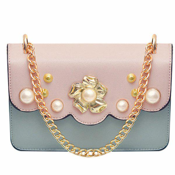 Sweet Faux Pearl and PU Leather Design Women's Crossbody Bag - PINK / GRAY