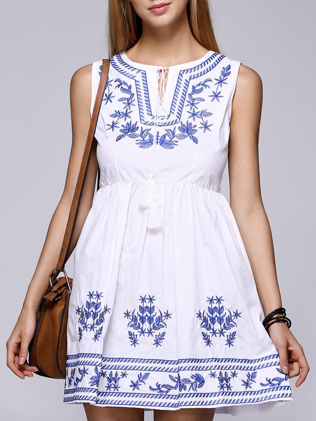Women's Embroidery Lace Up High Waist Dress - WHITE ONE SIZE(FIT SIZE XS TO M)