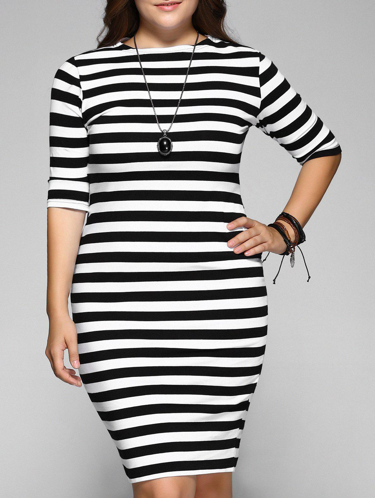 Plus Size Stripe Half Sleeve Fitted Dress - STRIPE 6XL