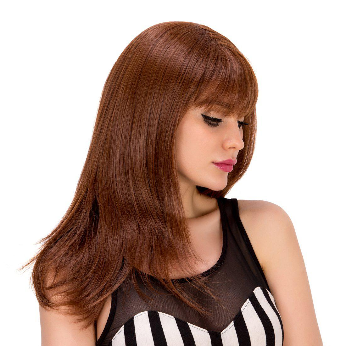 Elegant Full Bang Straight Synthetic Long Layered Red Brown Wig For Women - RED BROWN