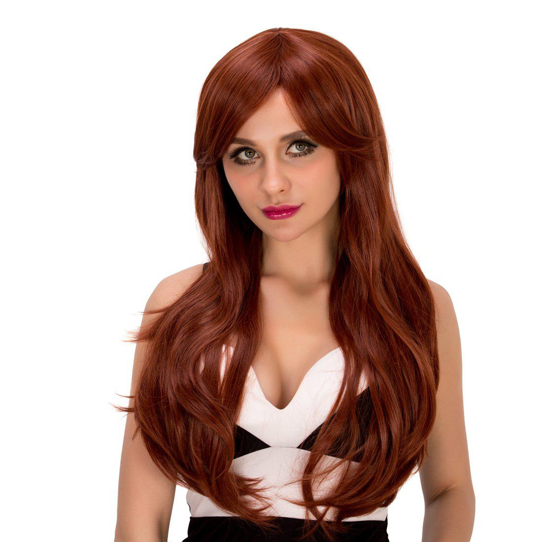 Ladylike Women's Long Wavy Middle Part Auburn Brown Synthetic Hair Wig