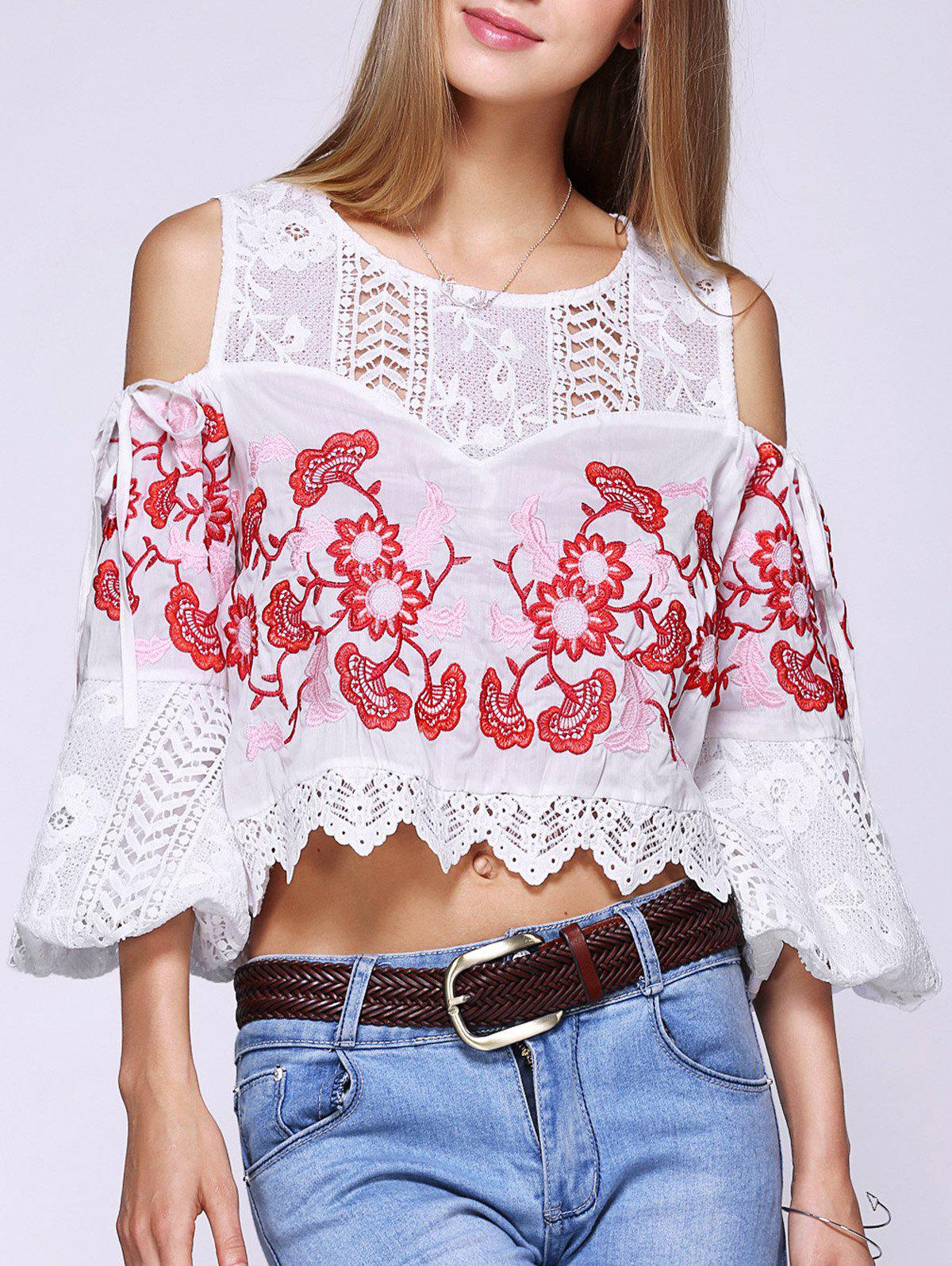 Cold Shoulder Stylish Floral Embroidered Crochet Splicing Women's Blouse - WHITE ONE SIZE(FIT SIZE XS TO M)