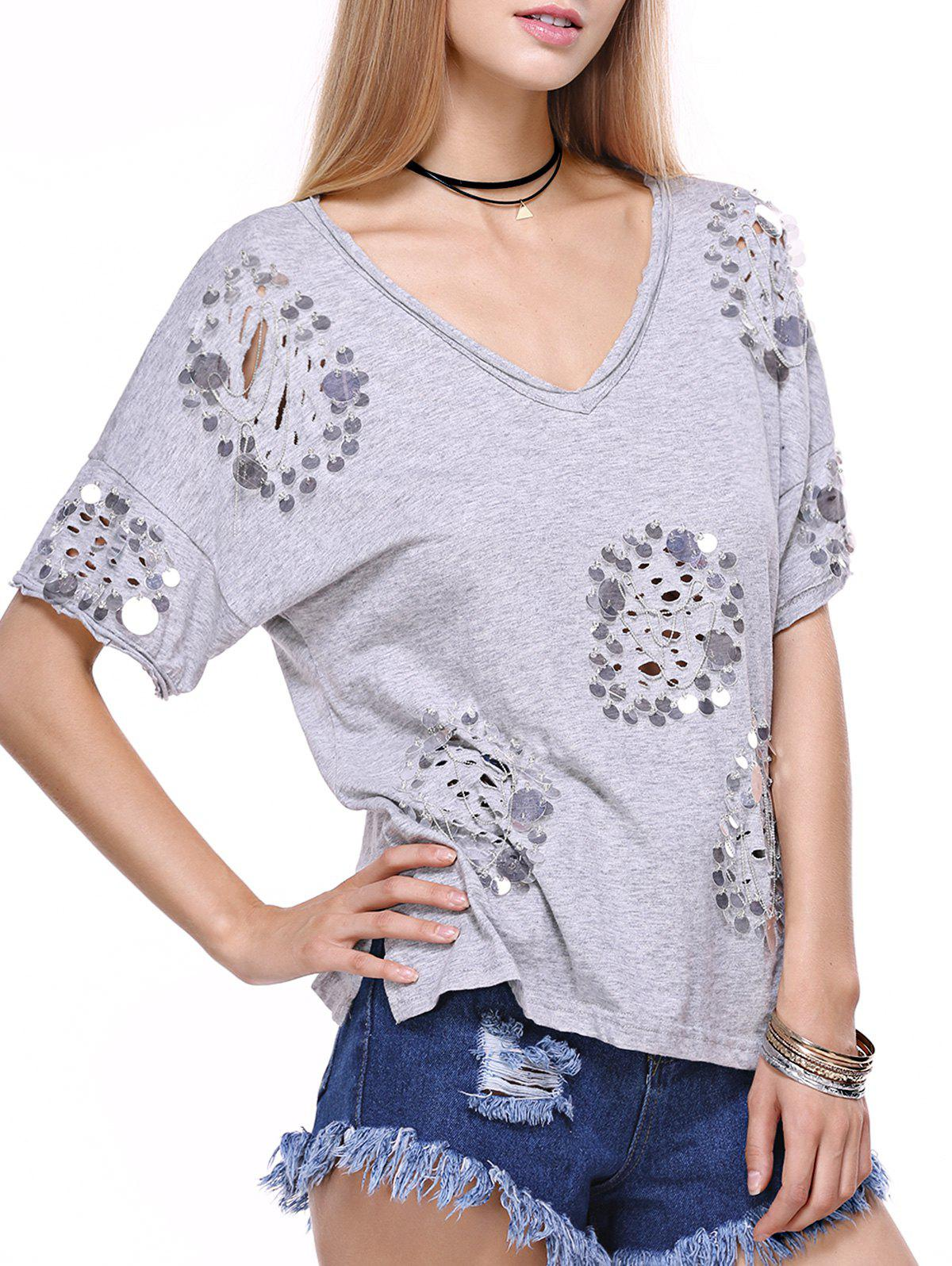 V Neck Sequins Embellish T-Shirt - GRAY ONE SIZE(FIT SIZE XS TO M)