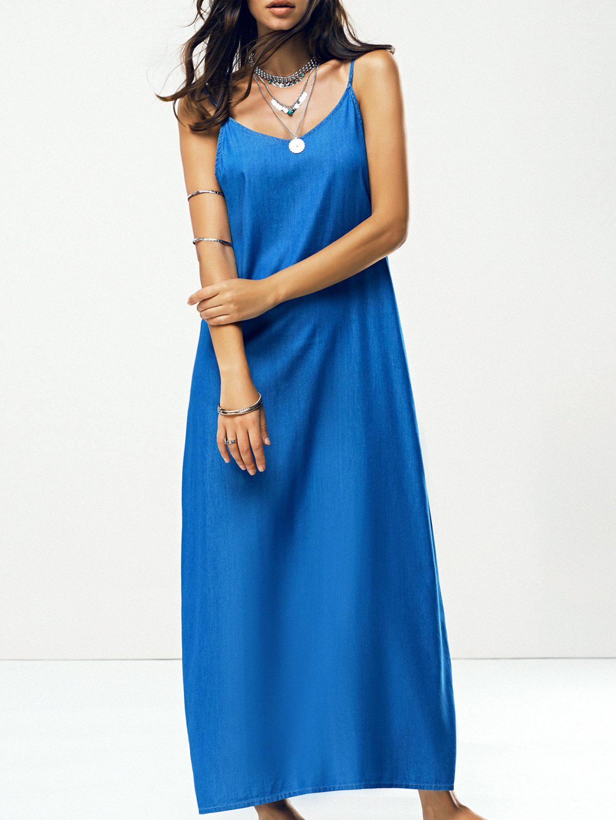 Spaghetti Strap Solid Color Backless Maxi Dress - DENIM BLUE S