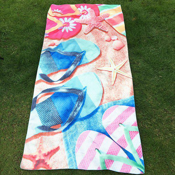 Novelty 3D Starfish and Slippers Printed Quick Dry Comfortable Beach Throw - BLUE